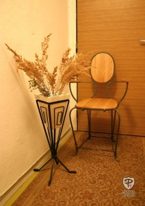 Iron Wooden Chair & Stand